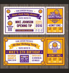 basketball ticket templates vector image