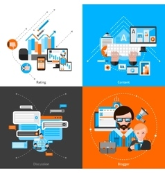 Blogging Flat Set vector