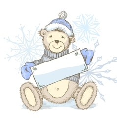 Card with toy bear in hat vector image