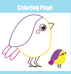 cartoon bird coloring page for children and kids vector image