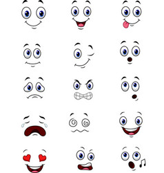 cartoon faces expressions collection set vector image