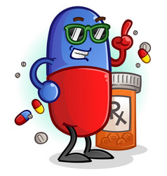 Chill pill cartoon character vector