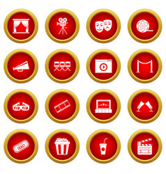cinema icon red circle set vector image