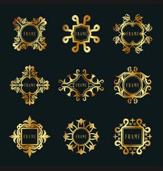 Collection fancy decorative frames vintage vector