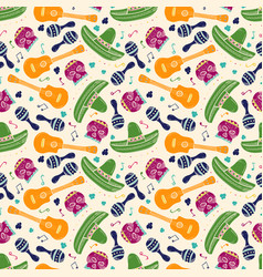 Colorful sketch mexican symbols seamless pattern vector