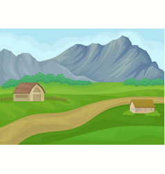 country landscape with small house and barn vector image
