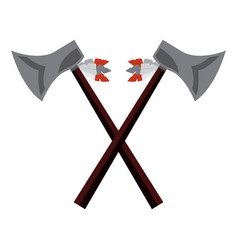 crossed pair axe native american indian weapon vector image