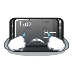 Crying tab button attached to cartoon keyboard vector