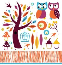 Cute autumn owls and design elements vector