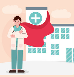 Doctor hero professional physician with cape in vector