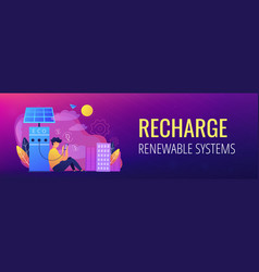 Eco recharge stations in smart city header banner vector