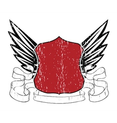 Emblem with shield and wings vector