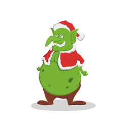 fat goblin in christmas hat green troll vector image
