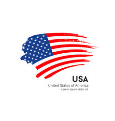 Flag usa brush stroke design isolated vector