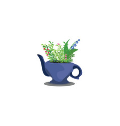 Flowers in teapot or color vector