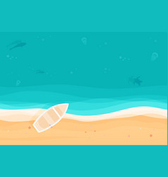 From above summer holiday background with boat on vector