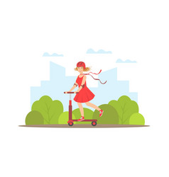 Girl riding kick scooter young woman doing vector