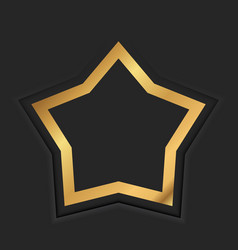 Gold star frame or golden luxury border on black vector
