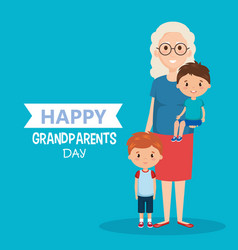 Grandparents day card with grandma and vector