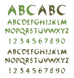 Green alphabet from leaves vector