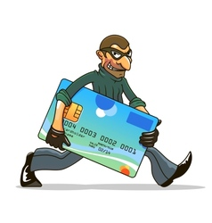 Hacker or thief stealing credit card vector image vector image