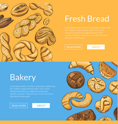 Hand drawn colored bakery elements web vector
