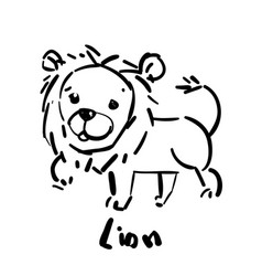 hand drawn sketch lion animal icon vector image
