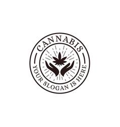 hand holding cannabis logo icon vector image