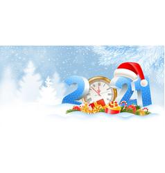 happy new year 2021 snowy background vector image