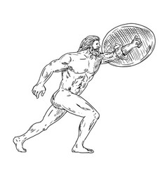 Heracles with shield urging forward drawing black vector