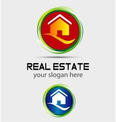 House home logo round icon vector image
