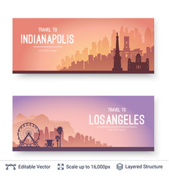 Indianapolis and los angeles famous city scapes vector