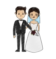 Isolated bride and groom design vector image