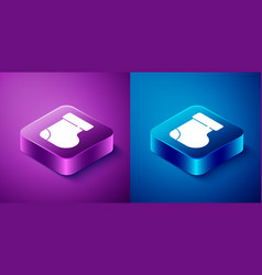 Isometric baby socks clothes icon isolated on blue vector