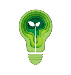 light bulb icon with green abstract paper art vector image