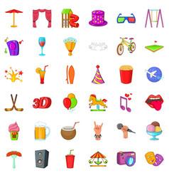 Lunapark icons set cartoon style vector
