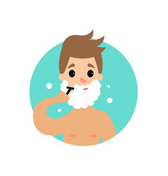 man shaving face with foam man caring for himself vector image