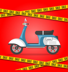 Motorbike sale poster with city moped vector