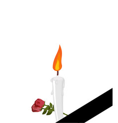 mourning frame black ribbon candles and flowers vector image