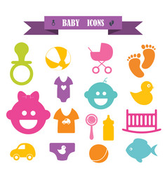 Multicolored icons with tape on topic baby vector