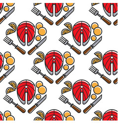 norway fish and potato cutlery seamless pattern vector image