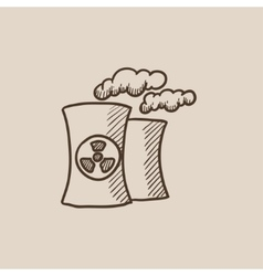 Nuclear power plant sketch icon vector image