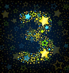 Number 3 cartoon star colored vector image