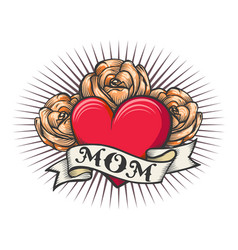Old school tattoo of heart and roses vector