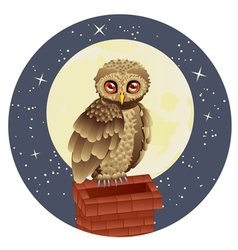 Owl and Moon2 vector