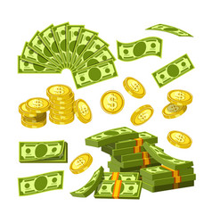 paper money and gold coins in big amounts vector image