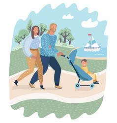 parents and child in pram or carriage walk in park vector image