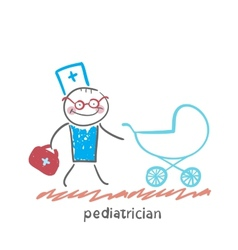Pediatrician came to a sick child in a stroller vector