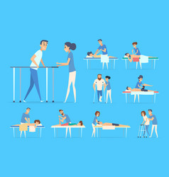physiotherapy people stretching sport exercises vector image