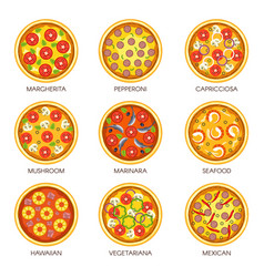 Pizza sorts icons templates for italian vector